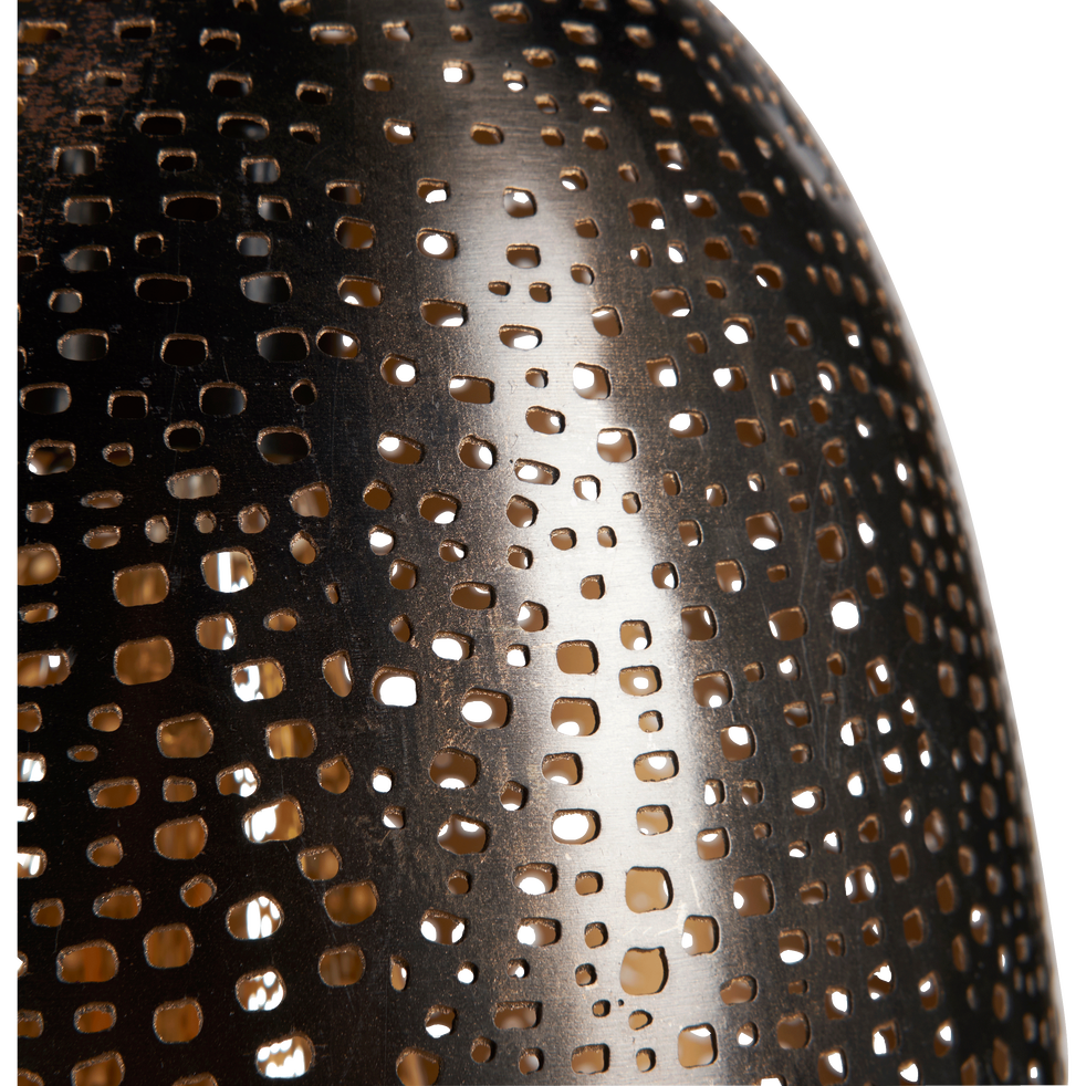 Suspension en métal perforé noir D20cm-SATYA