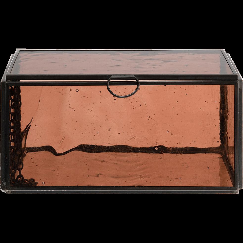 Boîte en verre et métal marron 11,2x16,5x8cm-ATHENA