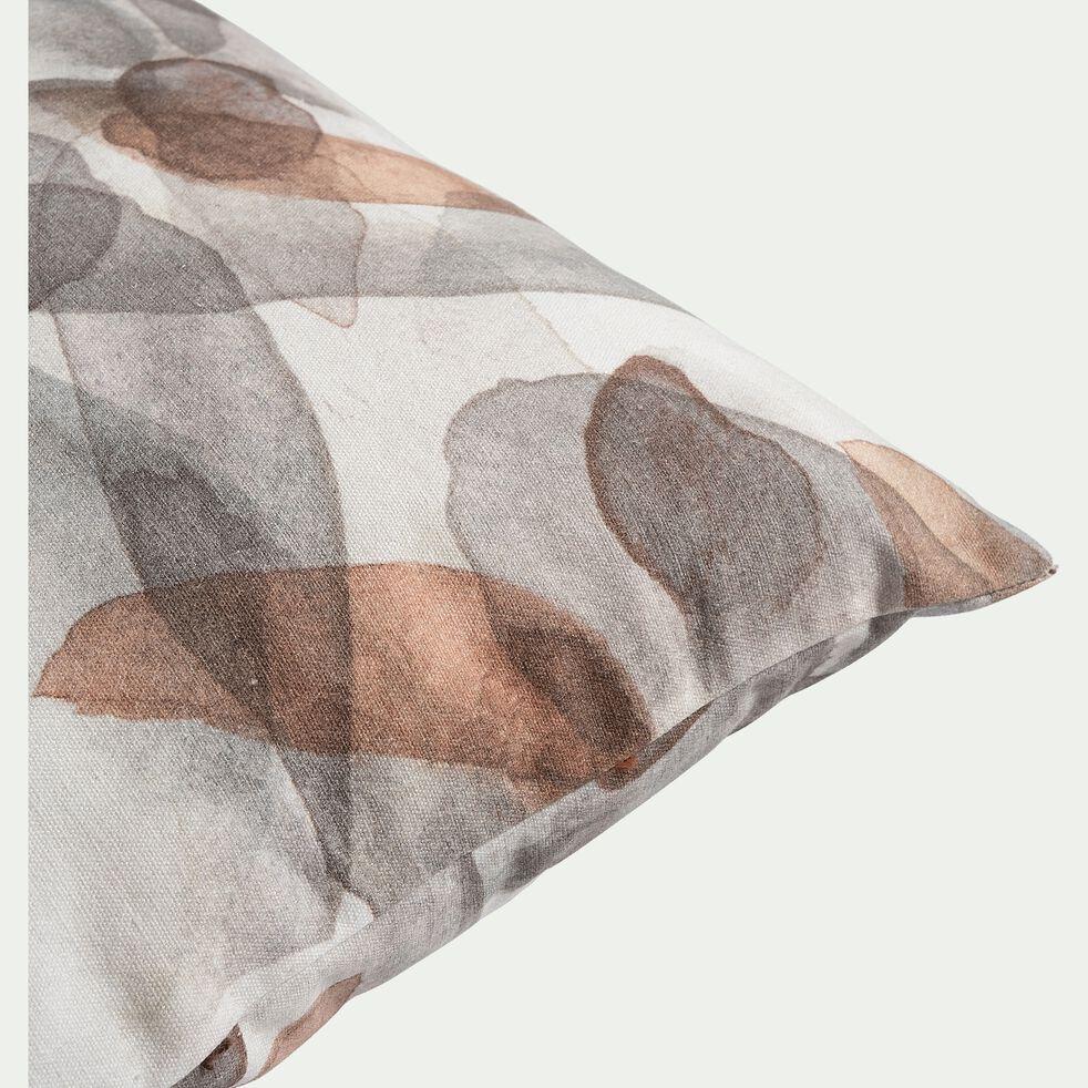 Coussin effet aquarelle en coton - gris et brun 30x50cm-SARBA