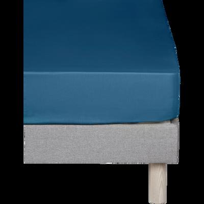 Drap housse en coton Bleu figuerolles 160x200cm -bonnet 25cm-CALANQUES