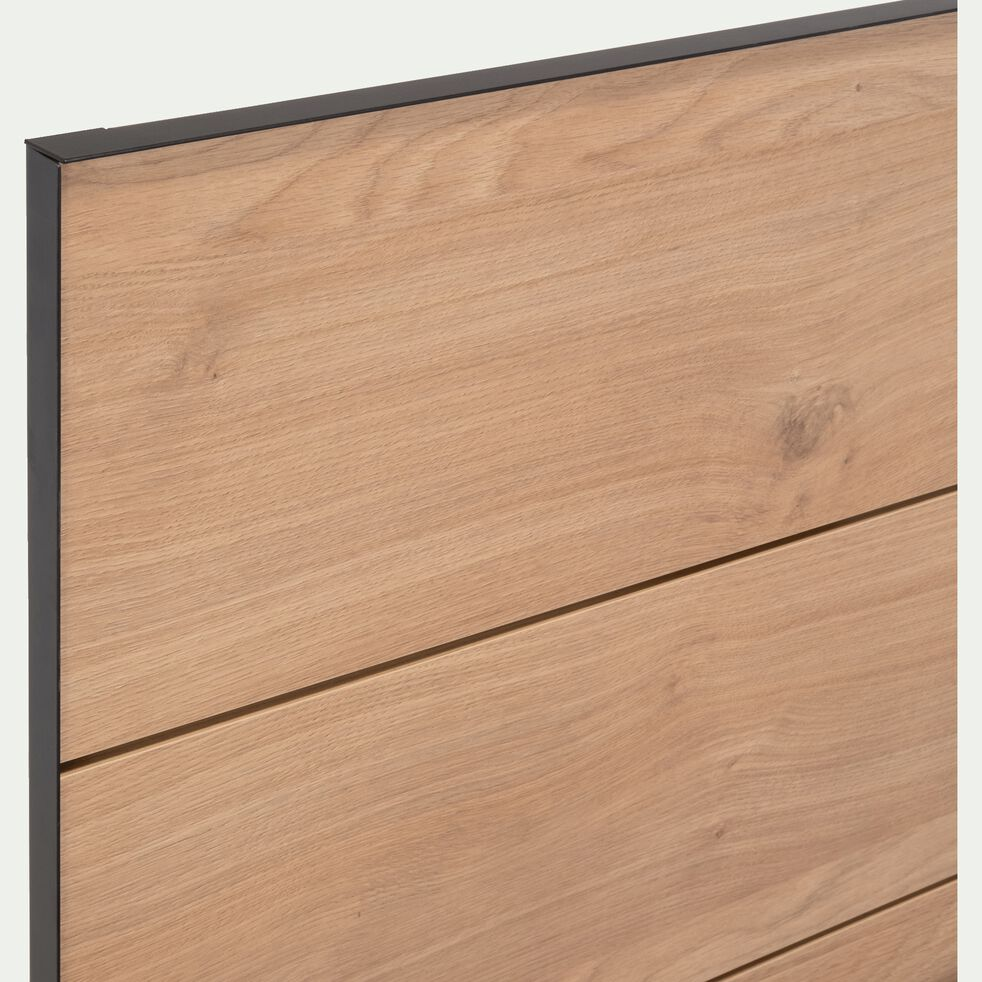 Lit 2 places effet chêne et métal Noir - 160x200cm-GASPARD