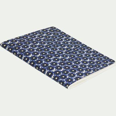 Carnet format A5 motif floral - bleu-BORRAGEM