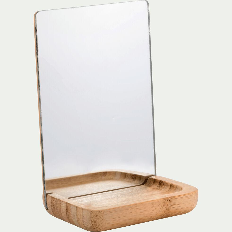 Miroir avec coupelle en bambou - naturel H21cm-NAIS