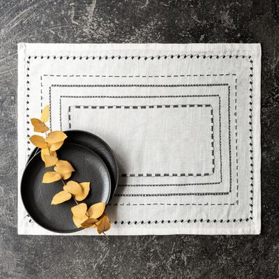 Set de table en coton blanc et noir 36x48cm-MEDINE
