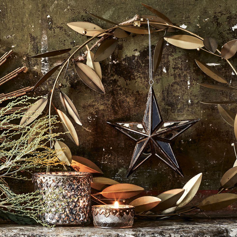 Couronne de Noël végétale en métal - doré D34cm-RODRIGUE
