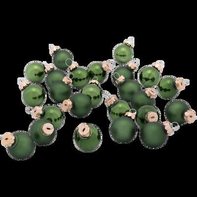 24 mini boules de Noël en verre vert D2,5cm-NIVE