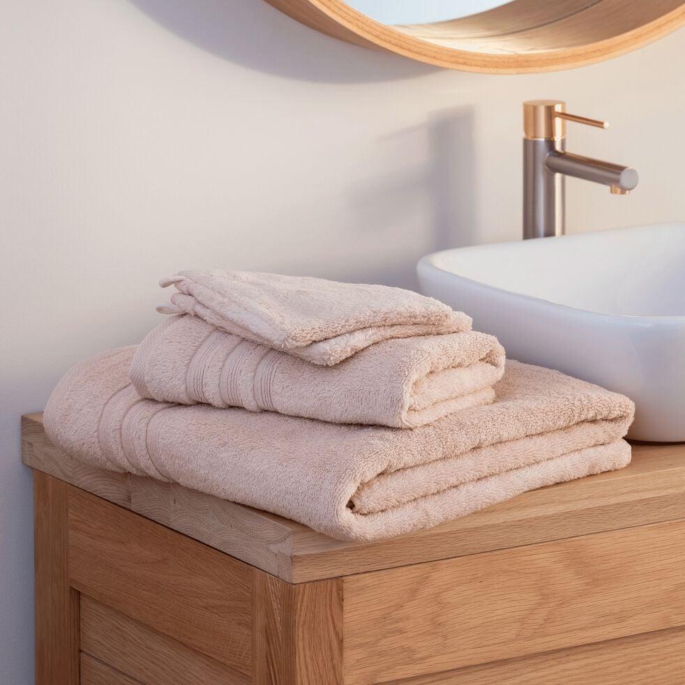 Lot de 2 gants de toilette bouclette en coton - rose grège-NOUN