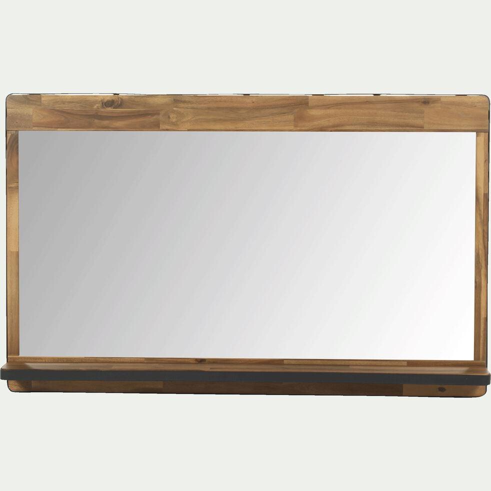 Miroir rectangulaire de salle de bain en acacia et métal 120cm-Kota