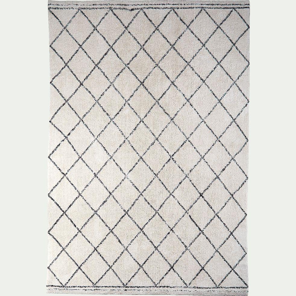 Tapis inspiration berbère - écru et noir 200x290cm-LOSANGE
