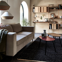 Canapé 3 places fixe en tissu beige roucas-MORGIOU