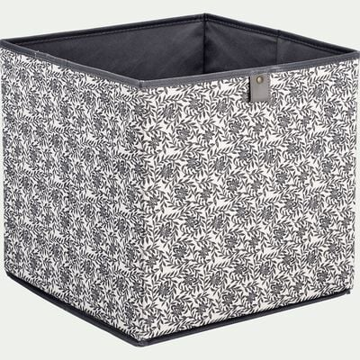 Cube de rangement en lin motif jasmin - 31x31cm blanc-ERRO