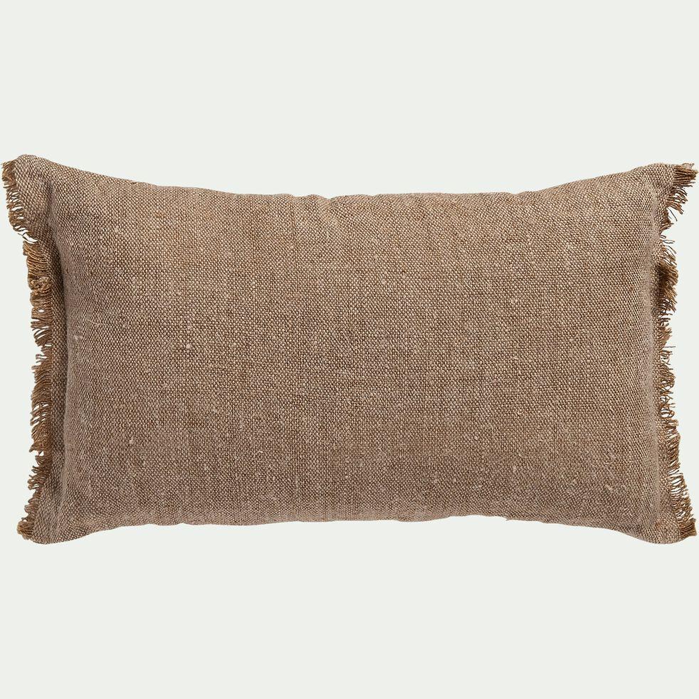 Coussin frangé en lin chambray - marron noisette 30x50cm-ORLU
