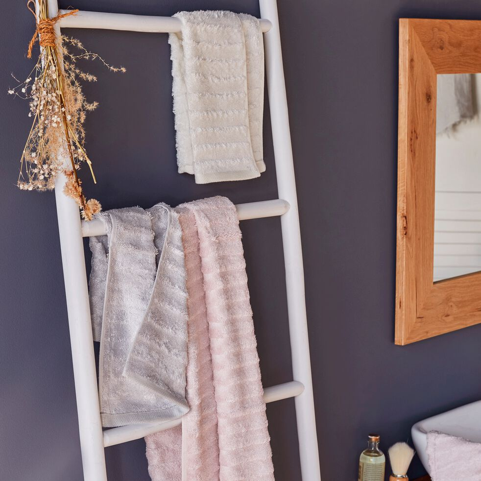 Serviette invité longues mèches en viscose et coton - gris borie 30x50cm-AUBIN