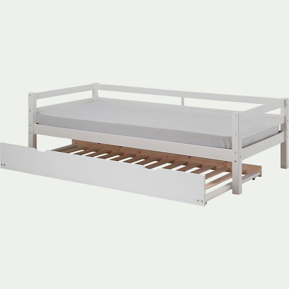 Lit banquette 1 place en pin - blanc 90x200cm-NOA