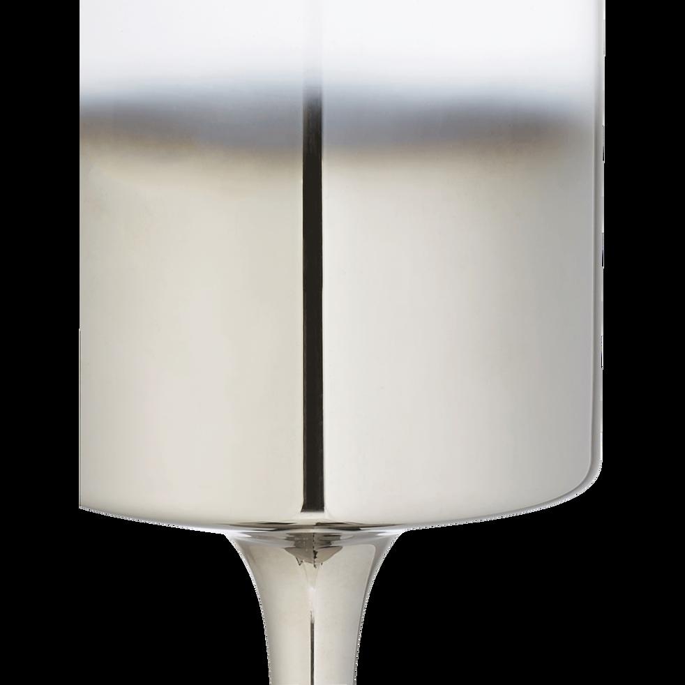 Photophore en verre argent H25cm-CANOPUS