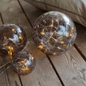 3 boules lumineuses en verre brun-AMBRE
