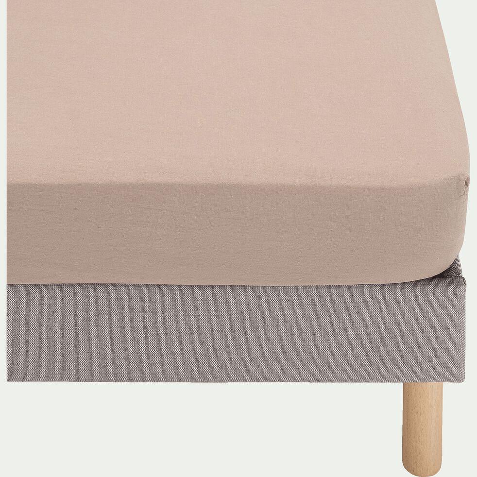 Drap housse en lin lavé - rose 90x200cm B28cm-VENCE