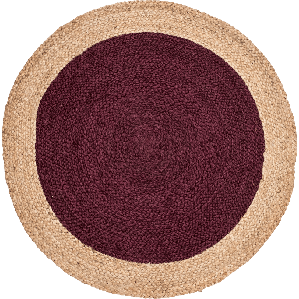 tapis rond en jute rouge sumac naia 90 cm alinea. Black Bedroom Furniture Sets. Home Design Ideas