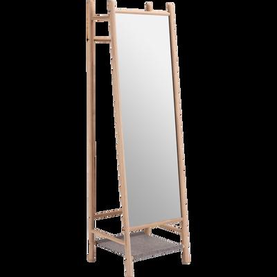 Miroir sur pieds en frêne et feutrine Gris clair - H164 cm-THEOULE