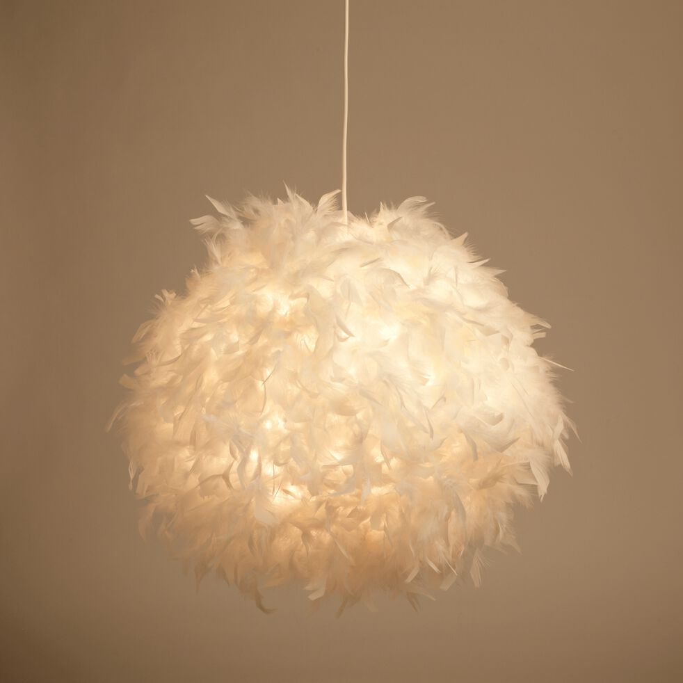 Suspension en plume blanche D50cm-PLUME