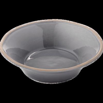 Assiette creuse en faïence gris restanque D16cm-LUBERON