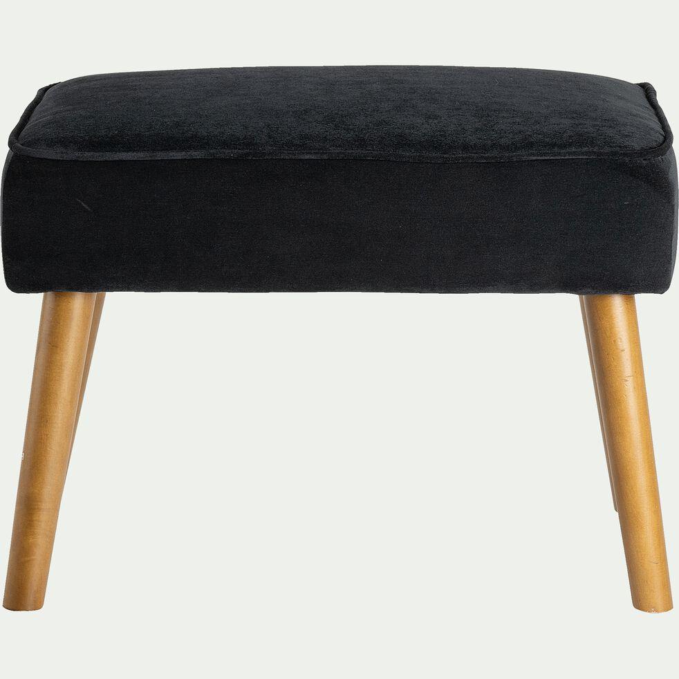 Pouf en velours avec pieds en bois noir-LOUIS