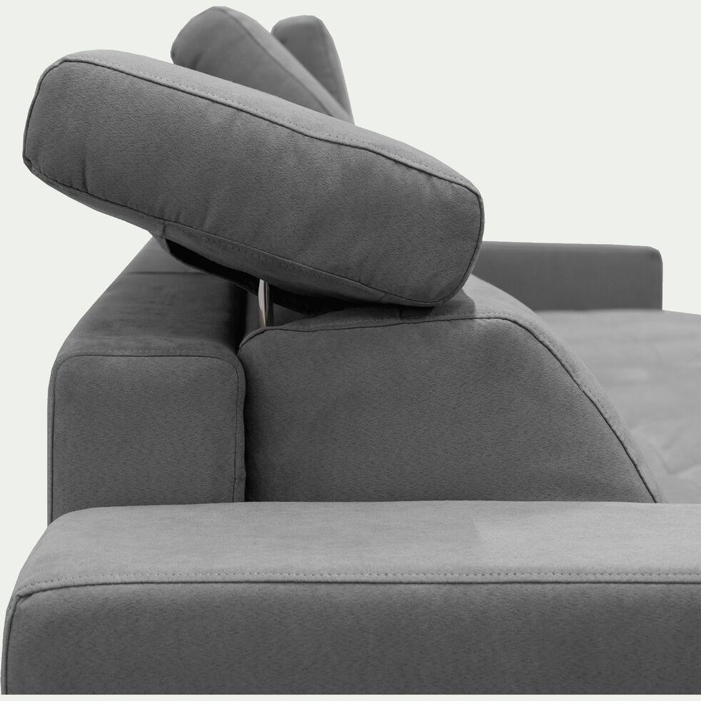 Canapé d'angle réversible fixe en microfibre - gris-MAURO