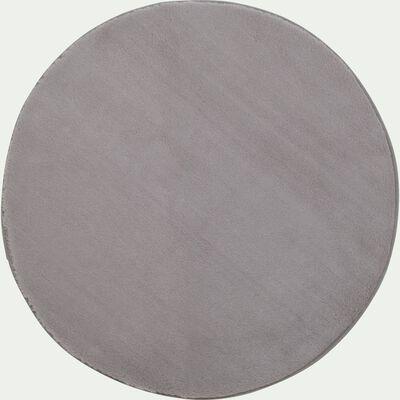 Tapis rond imitation fourrure - gris restanque D150cm-ROBIN