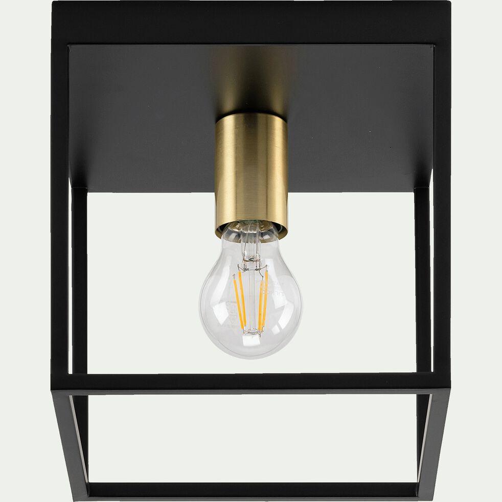 Plafonnier cubique -  22cm noir et or mat-ROBIN