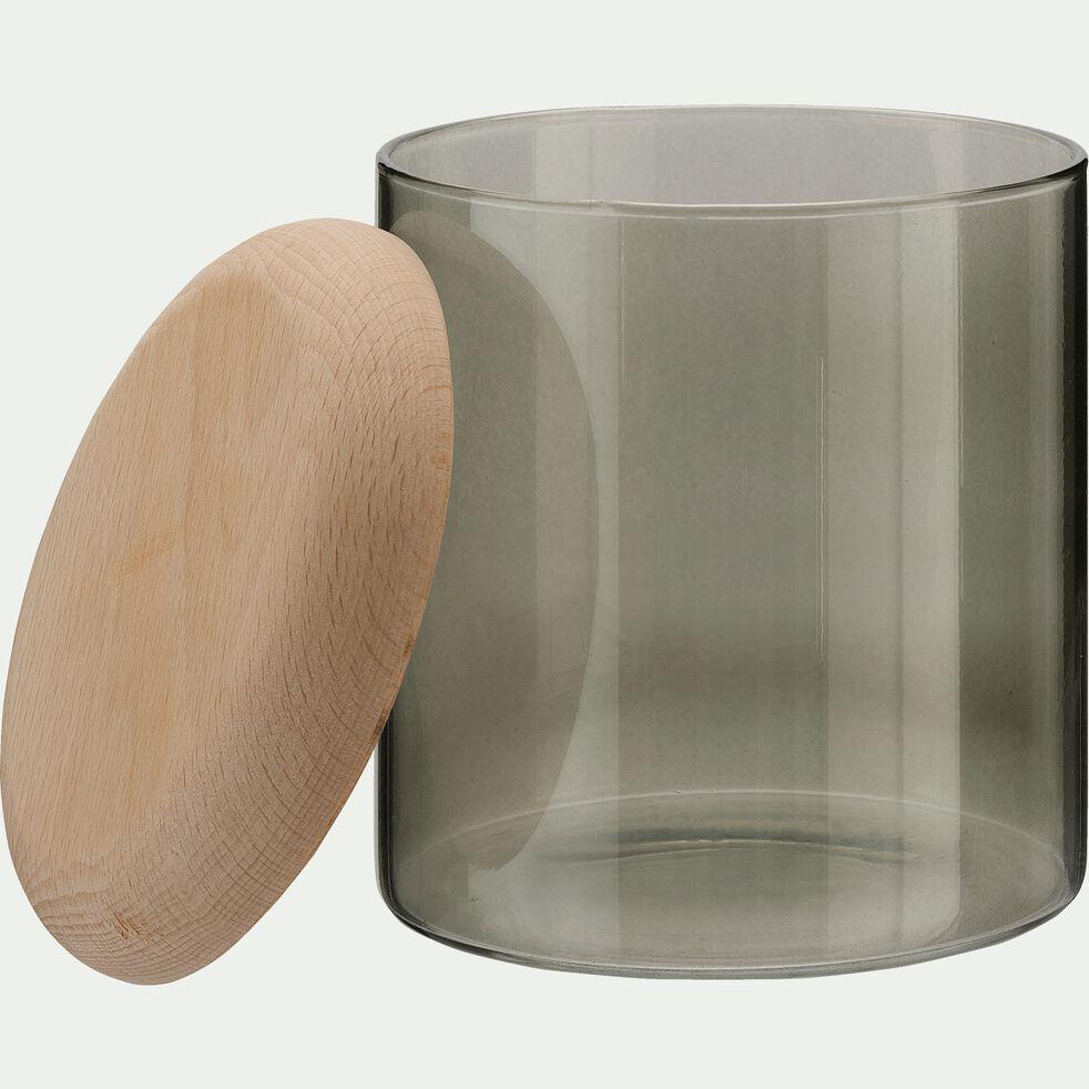Boîte cylindrique en verre et bois - vert cèdre D11xH12cm-Astaki