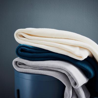 Jeté de lit tricoté en coton bleu figuerolles 180x220cm-VERDON