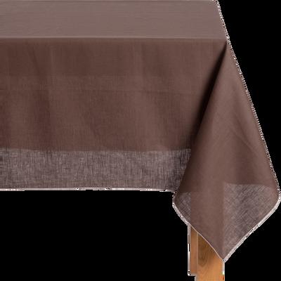 Nappe en lin et coton brun ombre 170x300cm-MILA