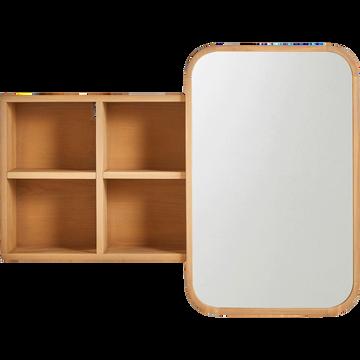 Miroir rangeant coulissant en chêne L100cm-HORTENSE