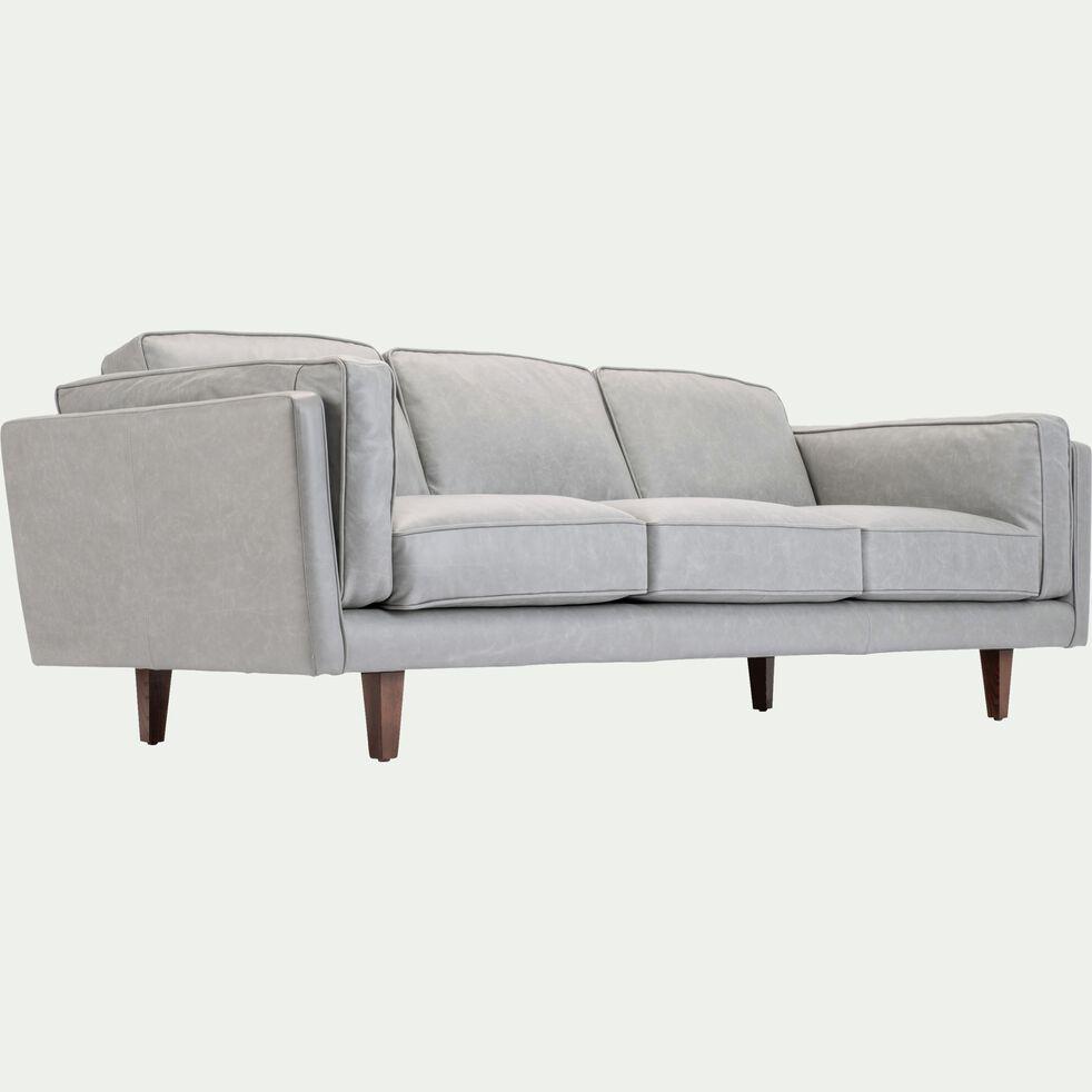 Canapé 3 places fixe en cuir gris-BROOKLYN