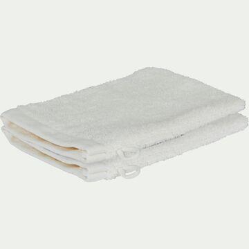 Lot de 2 gants de toilette brodés en coton bouclette - blanc ventoux-AMBIN