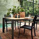 Table de jardin en aluminium et teck - noir (8 places)-MASSIMO
