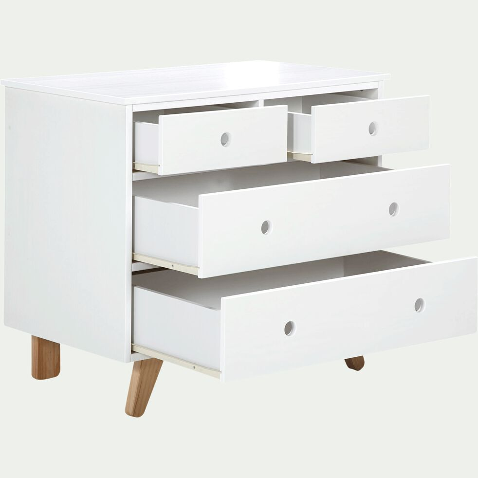 Commode 4 tiroirs blanc en pin massif-TIPI