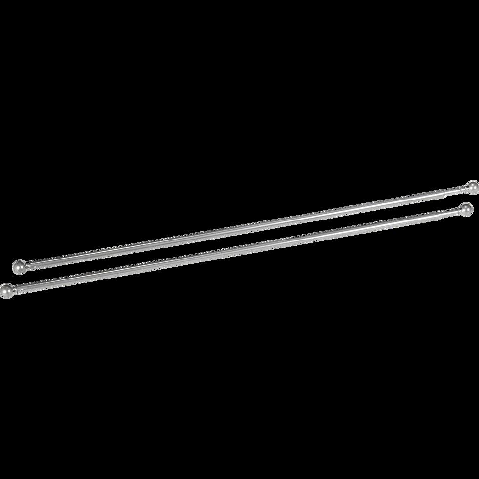 Tringle extensible pour vitrage coloris argenté 60 à 80cm-Simply