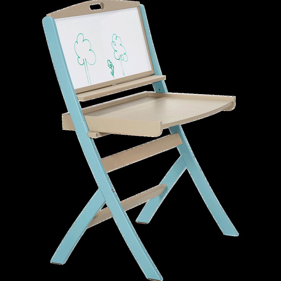Bureau évolutif pour enfant avec tableau en acacia bleu-PIROUETTE