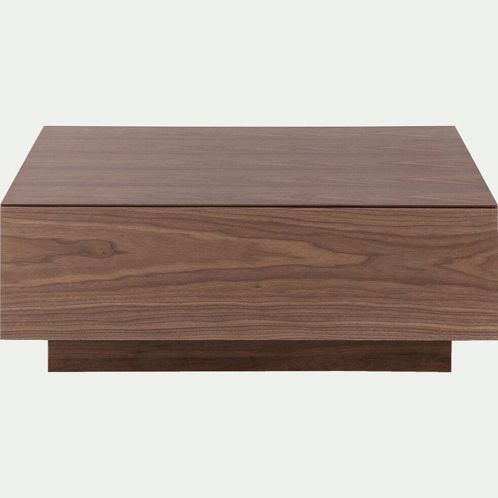 Table basse carrée plaquée noyer 1 tiroir-OUSO