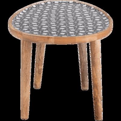 6e61ec364e95b7 Bout de canapé en manguier avec plateau motif jasmin-SOULA