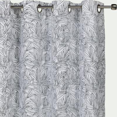 Rideau à œillets en coton motif Laurier - blanc et noir 140x250cm-LAURIER