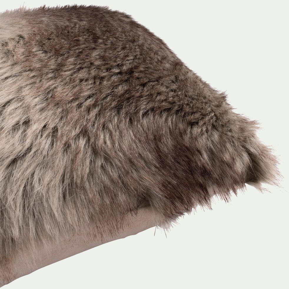 Coussin imitation fourrure marron 30x50cm-LOUP