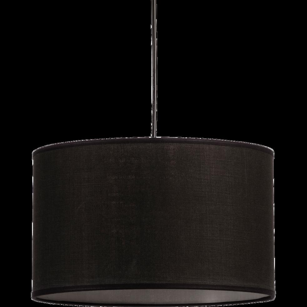 Suspension cylindrique en tissu noir D60cm-MISTRAL