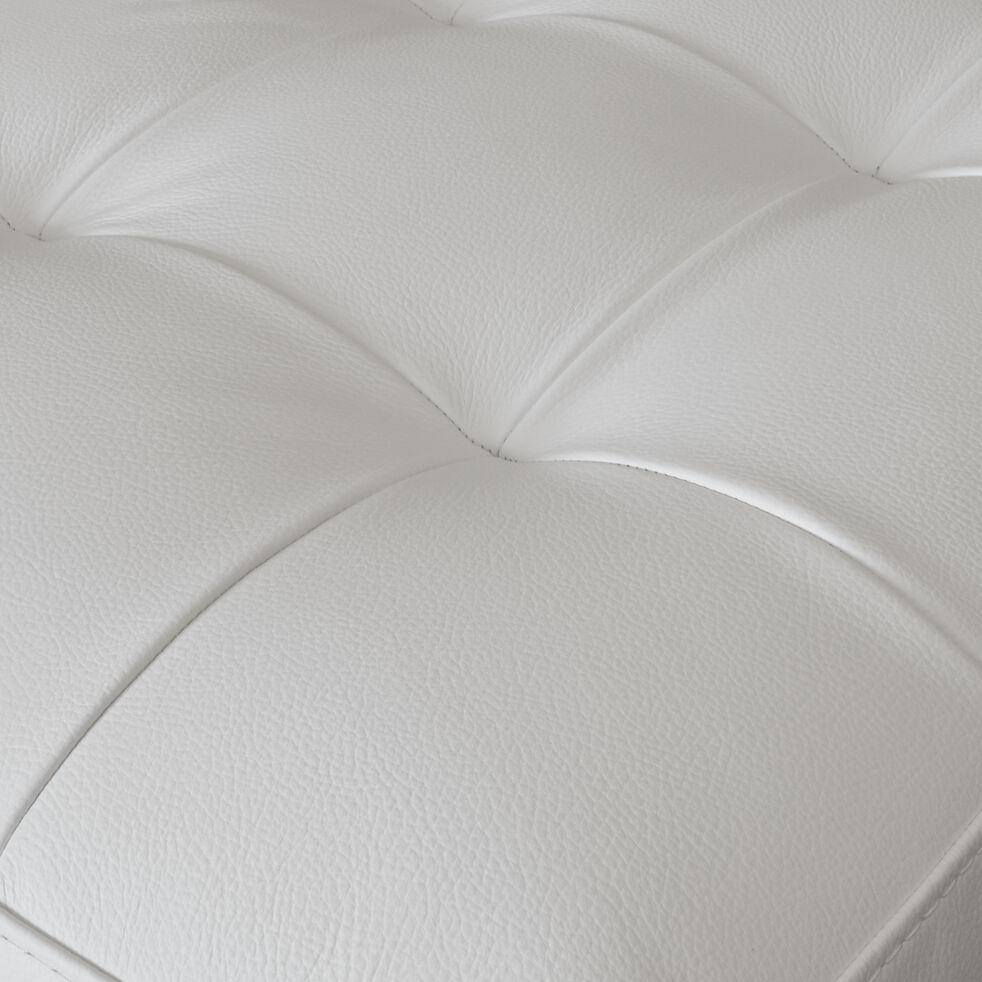 Pouf en cuir avec coffre - blanc-MAURO