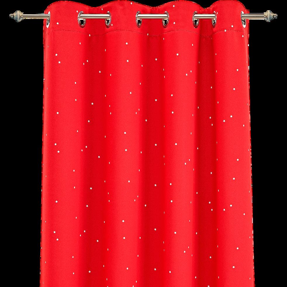 Rideau Occultant Rouge Motifs Etoiles 140x240cm Pour Enfant Star