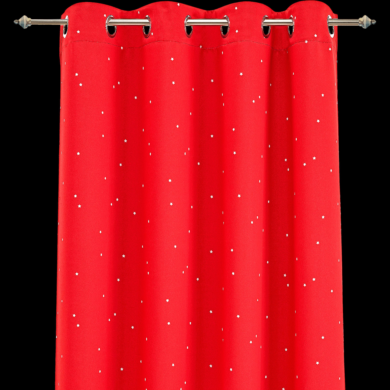 Rideau Occultant Rouge Motifs étoiles 140x240cm Pour Enfant STAR