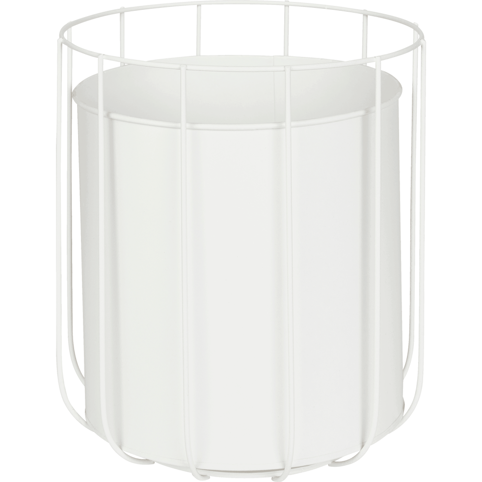 Cache-pot en métal blanc H25xD22cm-TAZA