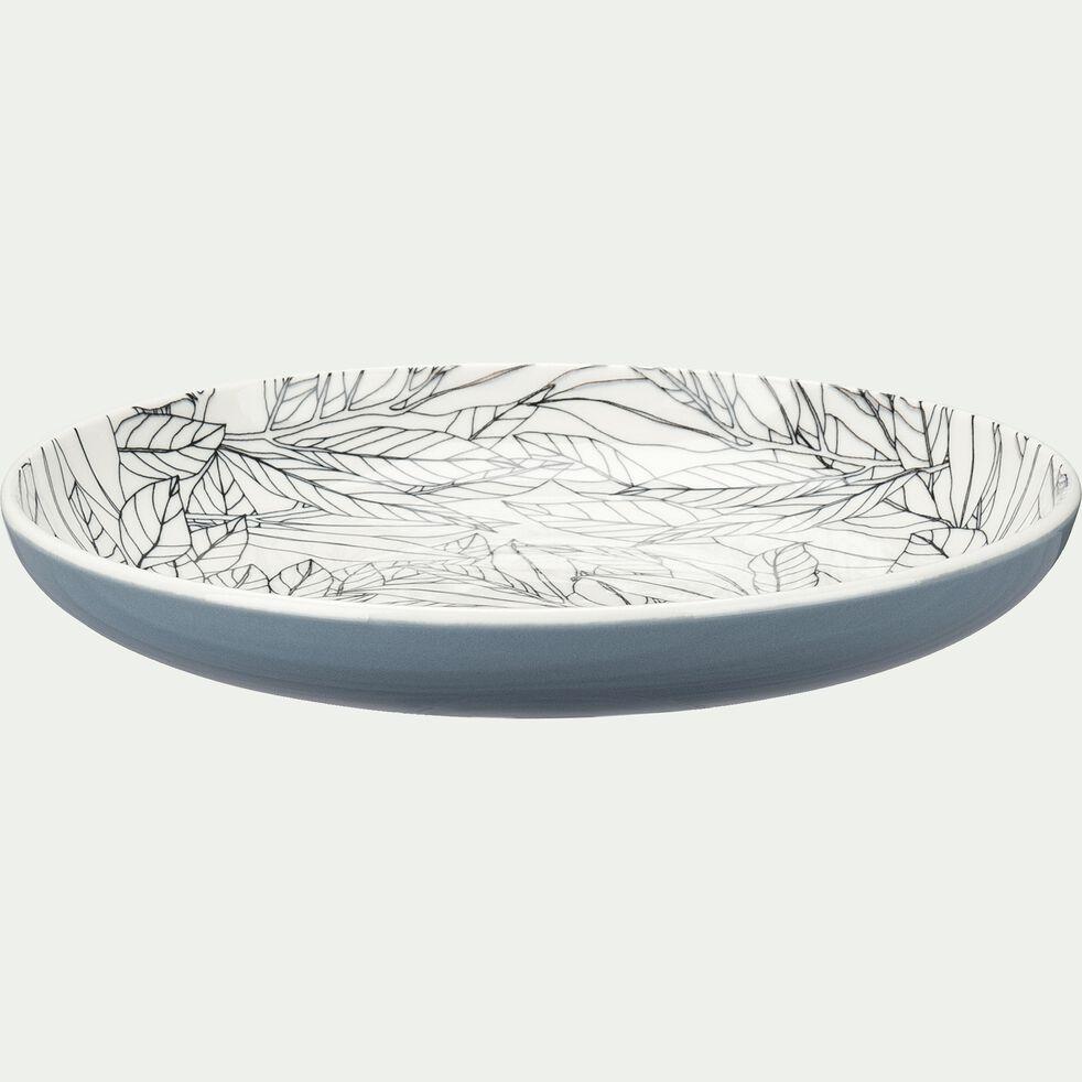 Assiette à dessert en porcelaine motifs laurier - gris d20,8cm-AIX