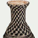 Vase tressé en bambou et jonc de mer - noir et naturel H60cm-AGANTA